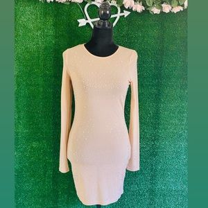 Long Sleeve Mesh Bedazzled Dress